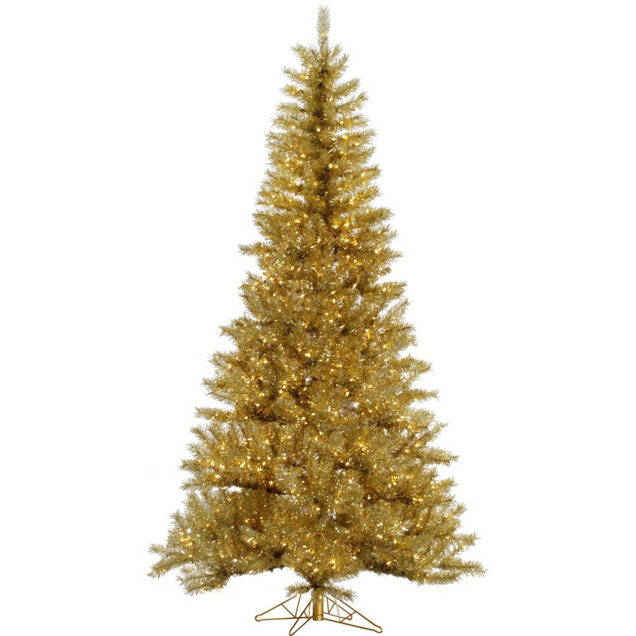 Vickerman Pre-Lit 9' Gold/Silver Tinsel Artificial Christmas Tree, Clear Lights