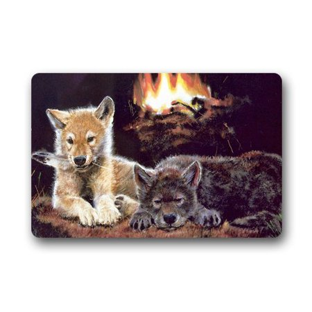 WinHome Wolf Cubs At Fire Place Doormat Floor Mats Rugs Outdoors/Indoor Doormat Size 23.6x15.7 - Palace Floor