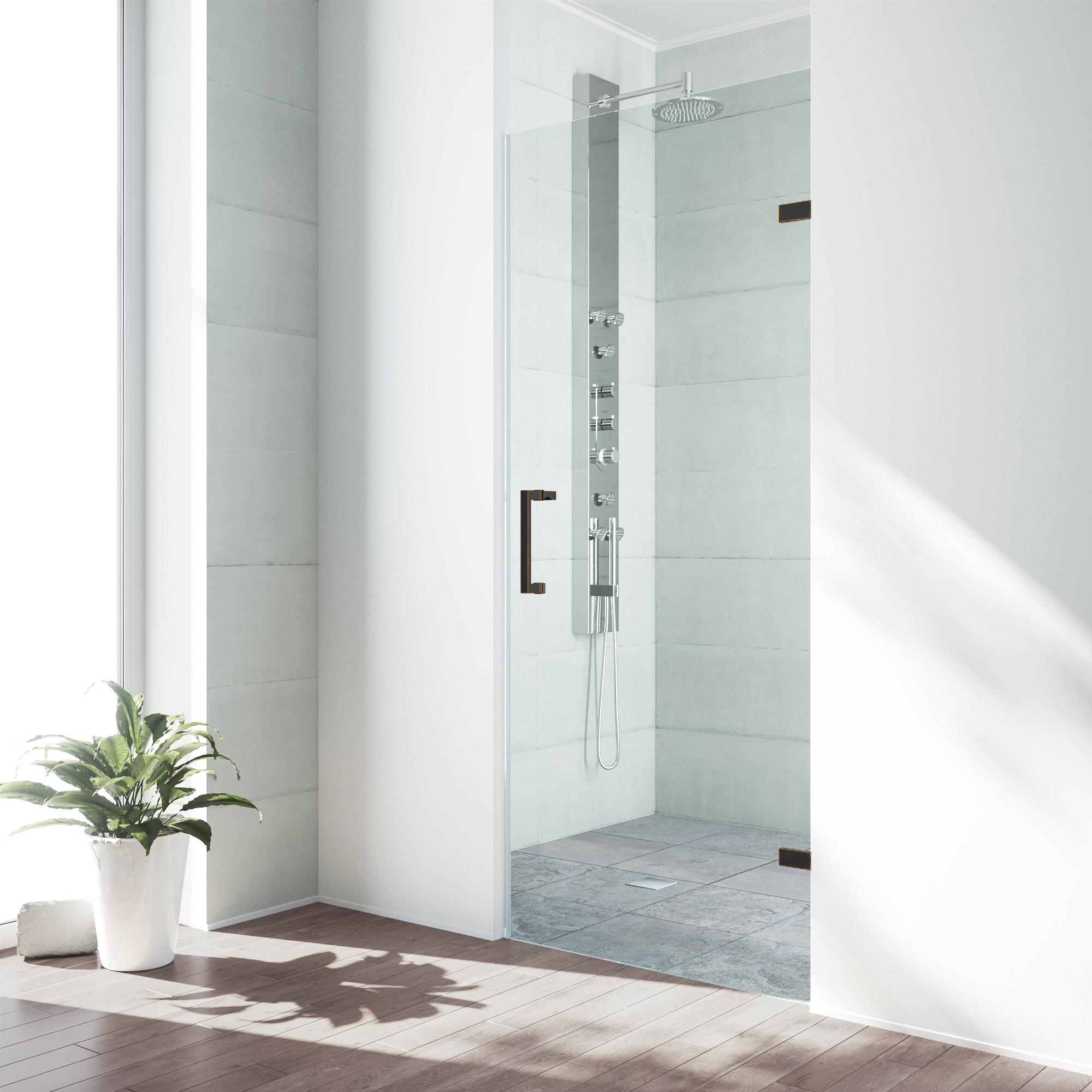 """VIGO SoHo 26"""" Adjustable Frameless Shower Door with Clear Glass and Antique Rubbed Bronze Hardware"""