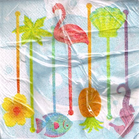 Hawaiian Luau Swizzle Stick Lunch Napkins (16ct) (Pink Swizzle Sticks)