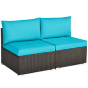 Topbuy 2-Piece Outdoor Wicker Rattan Sectional Armless Sofa Chair w/ Blue Cushions