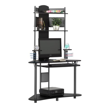 Calico Designs Arch Corner Computer Desk with Hutch / Tower in Pewter / Black