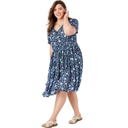 Woman Within Plus Size Sleeveless V-neck Crinkle Dress