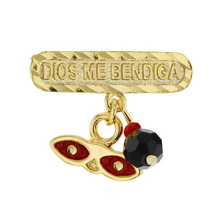 14k Gold Plated Simulated Azabache St Lucy Evil Eye Protection Baby Pin (Black Hills Gold Brooch)