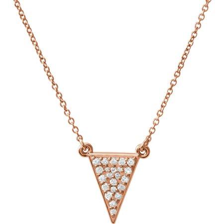 Diamond Triangle Necklace - 14k Rose Gold Polished 0.2 Dwt Diamond Triangle Necklace