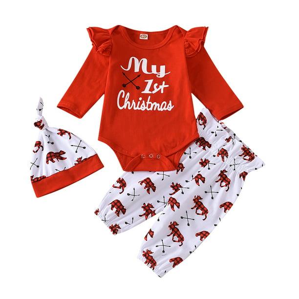 First Christmas Baby Sleepsuit Girls Boys 1st Christmas Outfit Traditional Babies First Christmas Personalised Star Babygrow