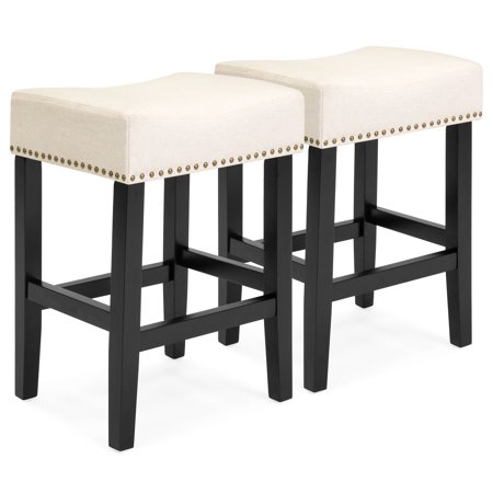 Best Choice Products 26in Faux Leather Upholstered Counter Stools with Wooden Base and Silver Nailhead Trim, Set of 2, Beige