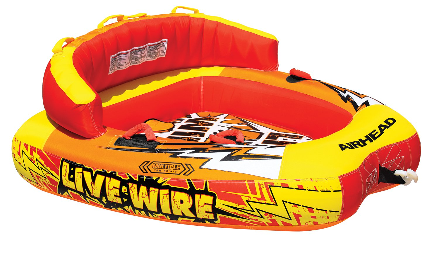 New AIRHEAD AHLW-2 Live Wire 2 Inflatable 1-2 Rider Boat Towable Lake Water Tube by