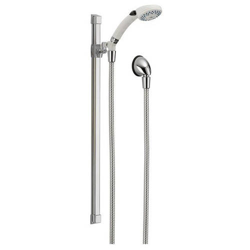 Delta 51551-WHBUF Classic Hand Shower Package Includes Hand Shower, Slide Bar, Push Button, and Hose, White