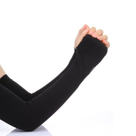 1 Pair Cooling Arm Sleeves for Men Women, UV Sun Protection Compression Arm Covers Color:Black ()