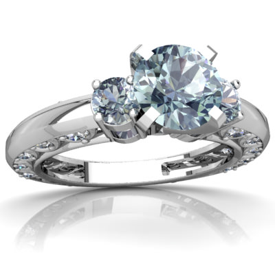 Aquamarine Art Deco Ring in 14K White Gold by