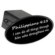 """Philippians 4-13, Christian Bible Verse 2"""" Oval Tow Trailer Hitch Cover Plug Insert"""
