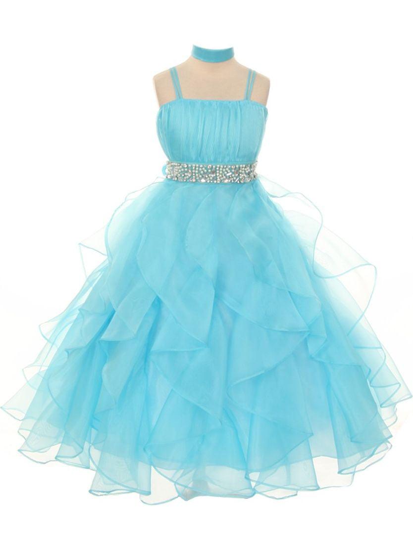 Chic Baby Girls Aqua Vertical Ruffle Junior Bridesmaid Pageant Dress