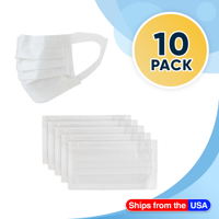 10 Disposable Face Masks White, 3-ply Breathable Masks, Soft Ear Loop Mask