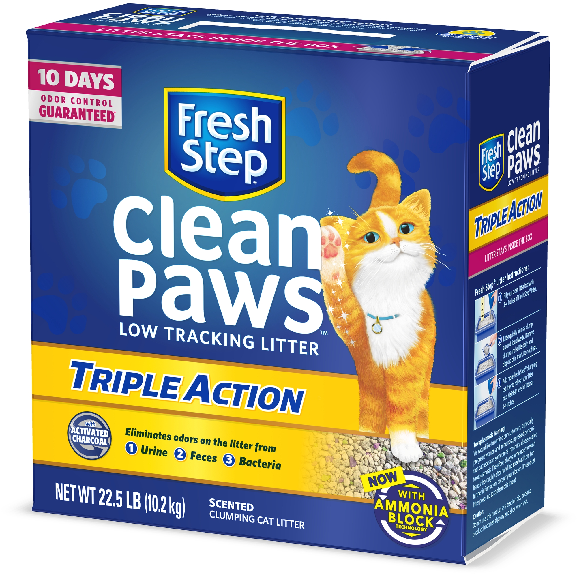 Fresh Step Clean Paws Triple Action Scented Litter, Clumping Cat Litter, 22.5 lbs