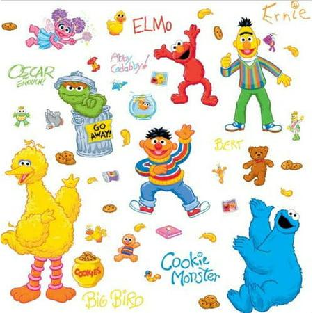 SESAME STREET Wall Decals Elmo, Big Bird, Ernie Stickers Kids Baby Nursery Decor (Big Heads Wall Decor)
