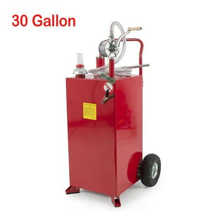 Ktaxon 30 Gallon Diesel Gas Fuel Storage Tank Can, Transfer Pump, w/ Manual Reversible Rotary Hand Pump and Wheels (Fuel Transfer Tank Toolbox)