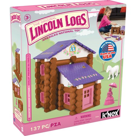 LINCOLN LOGS - Country Meadow Cottage - 137 Pieces - Ages 3 Preschool Education Toy