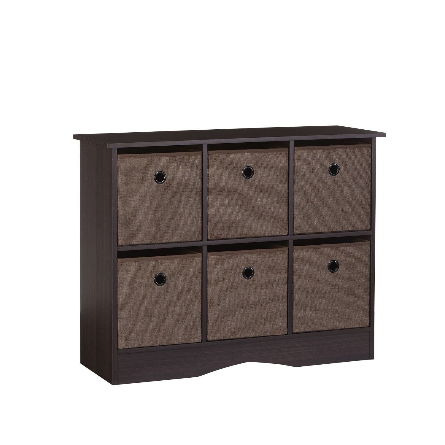 RiverRidge 6 Cubby Storage Cabinet With Bins U2013 Espresso/Brown
