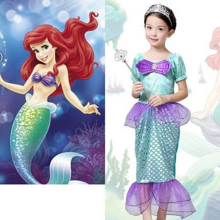 The Little Mermaid Ariel Kids Girls Dresses Princess Cosplay Halloween - Ariel Kids Costume
