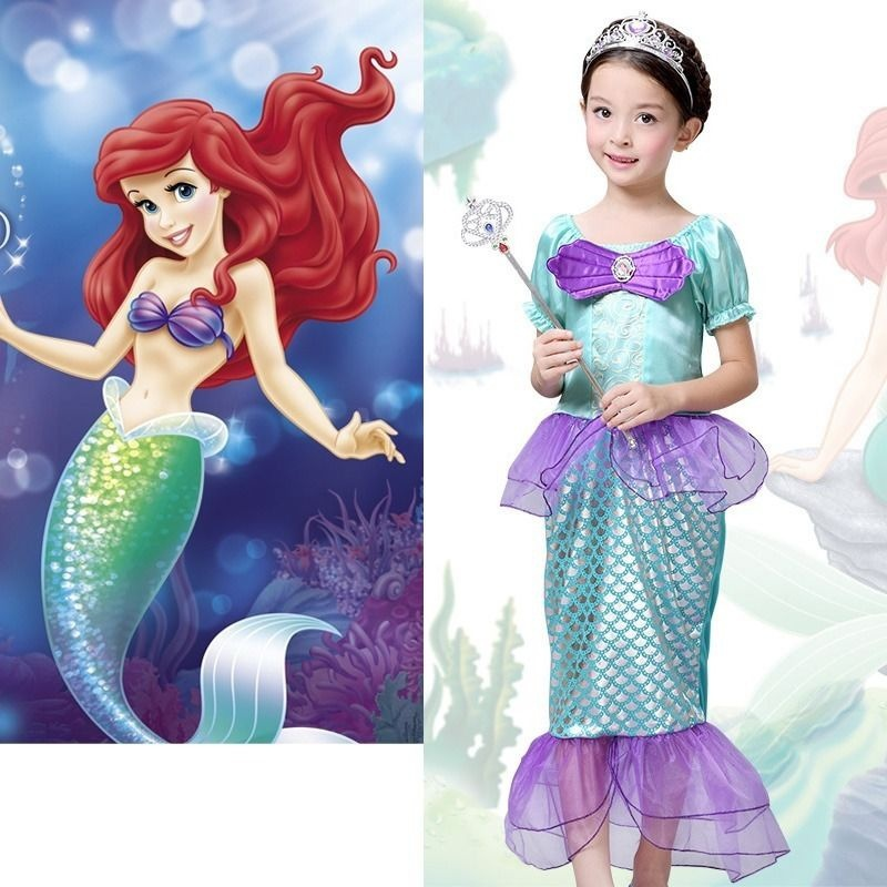 The Little Mermaid Ariel Kids Girls Dresses Princess Cosplay Halloween Costume  sc 1 st  Walmart & The Little Mermaid Ariel Kids Girls Dresses Princess Cosplay ...