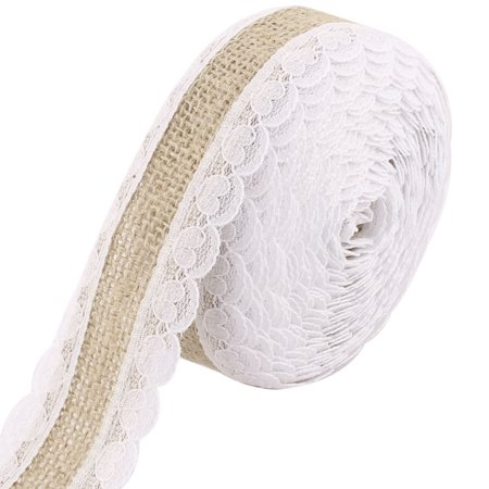 Wedding Gift Lace Edge Strap Decor Craft Burlap Ribbon Roll 5.5 Yards 4cm Width