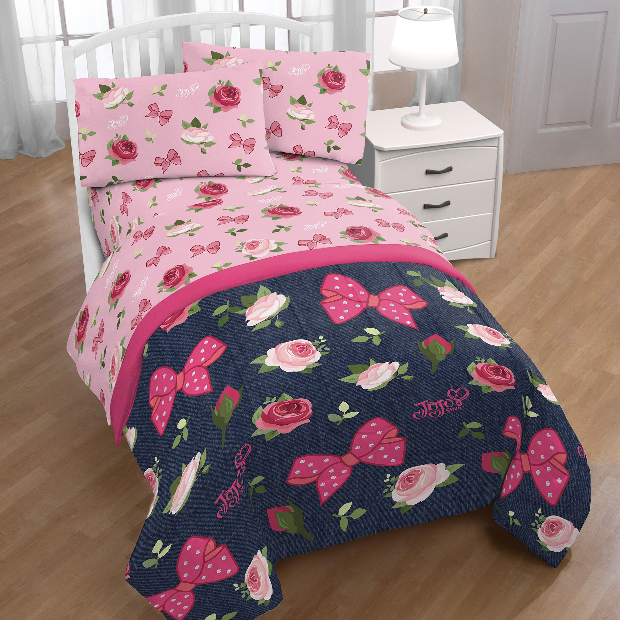 Jojo Siwa Roses & Bows 4 Piece Twin Bed In A Bag Pink/Blue