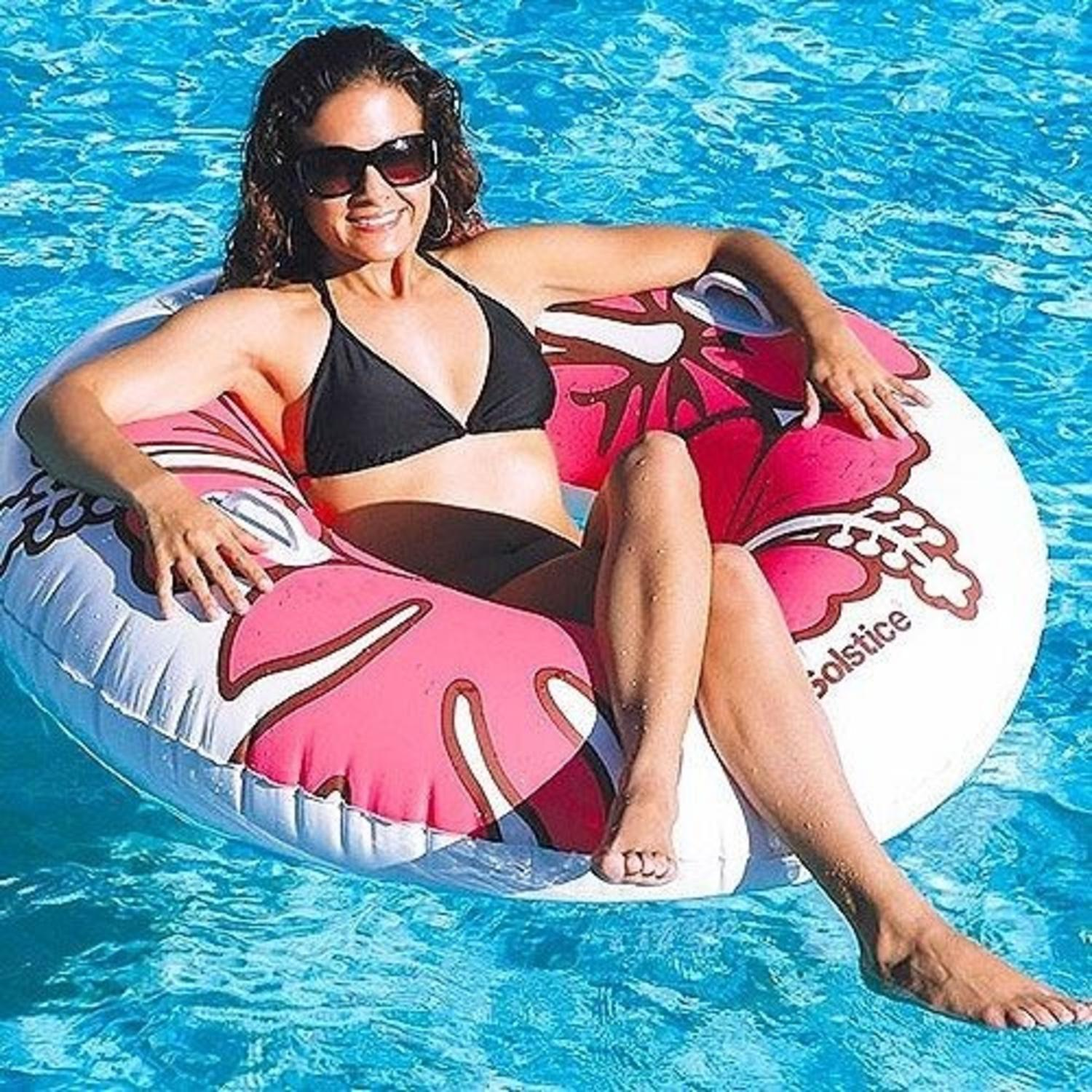 """Swim Central 48"""" Floral Round Inflatable 1-Person Swimming Pool Tube - Pink/White"""