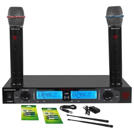 Rockville RWM2602UR UHF Dual Rechargeable Microphones For Church Sound (Best Headworn Mic For Church)