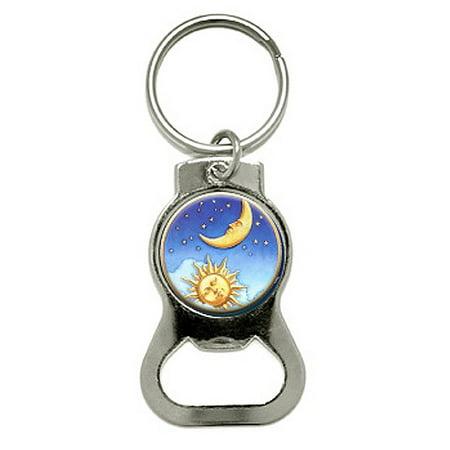 Star Keychain - Celestial Sun Moon Stars Round Bottle Opener Keychain