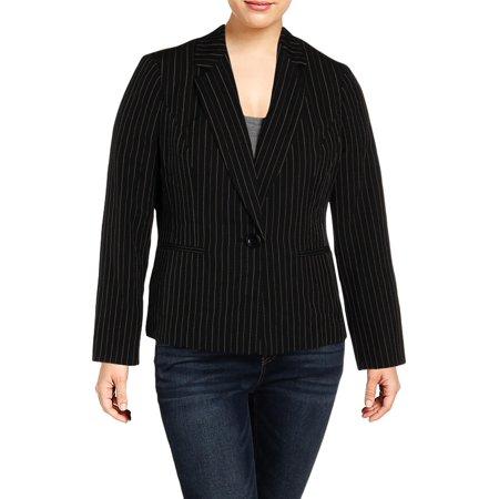 Le Suit Womens Pinstripe Office One-Button Blazer