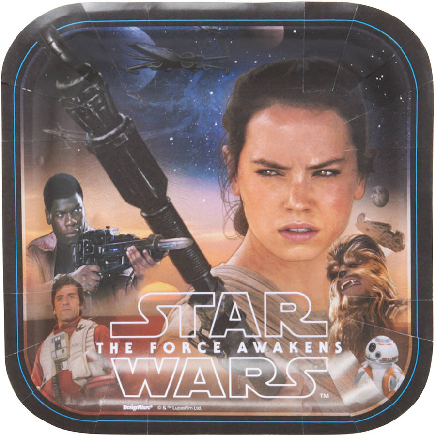 "Star Wars Episode VII 7"" Square Plate, 8 Count, Party Supplies"