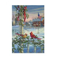 BestPysanky It's Christmas! Two Red Cardinals on Fence Greeting Card