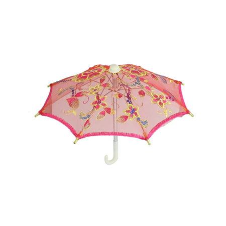 Baby Shower Fuchsia Floral Pattern Plastic Handle Mini Lace Children (Lace Baby Shower Umbrella)