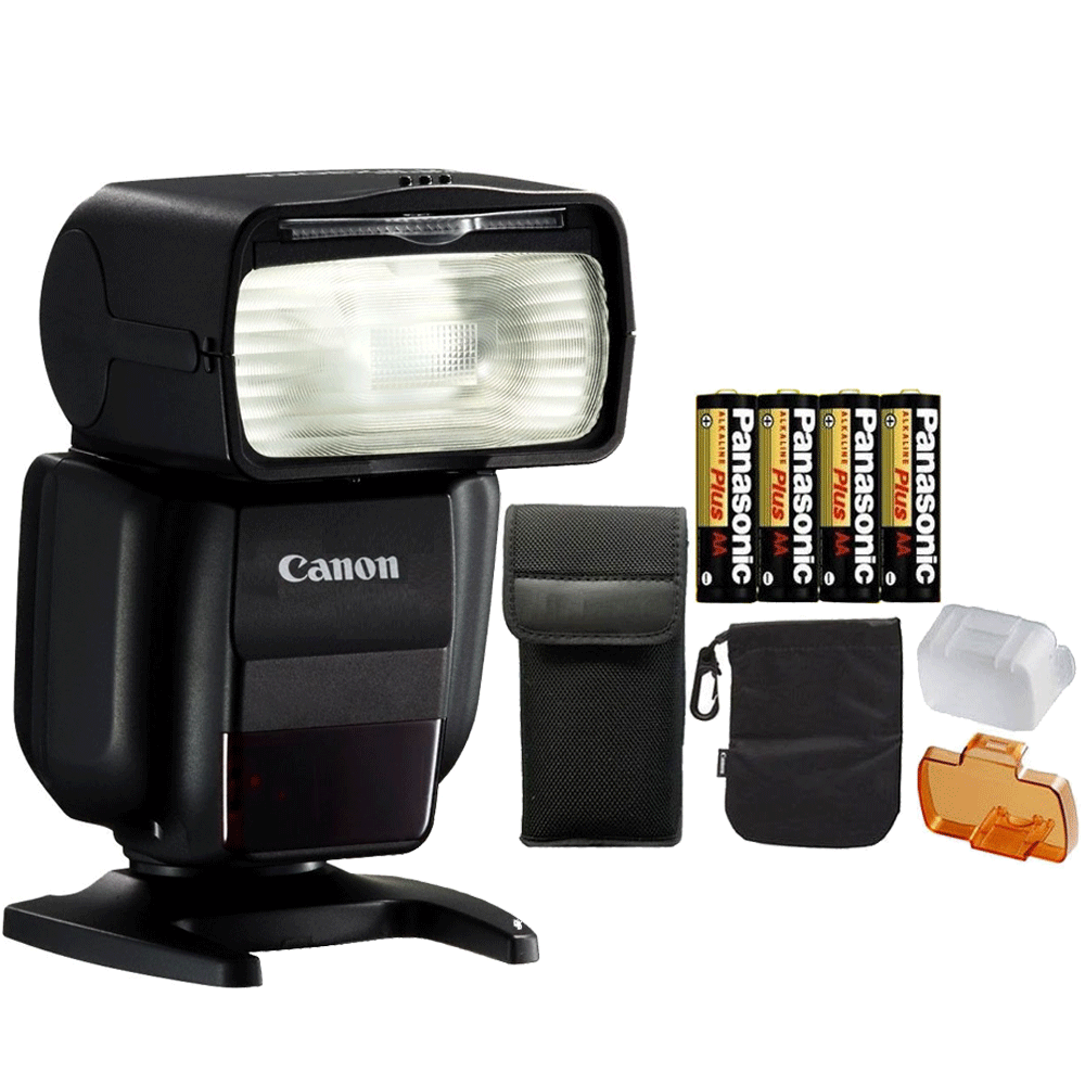 Canon Speedlite 430EX III Flash (Black) + 4 AA Batteries ...