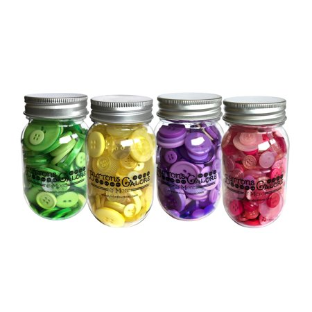 Buttons Galore 700+ Spring Colors Craft & Sewing Buttons in Mason Jar