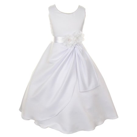 Big Girls White Bridal shiny Dull Satin Sequin Flowers Occasion Dress 10