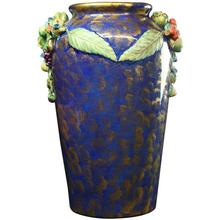 Large Majolica (Large Italian Majolica Umbrella Stand Vase Jardiniere, Blue & Gold, Fruit)
