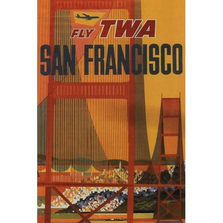 Fly Twa San Francisco Vintage Travel Poster United States 1970 24X36