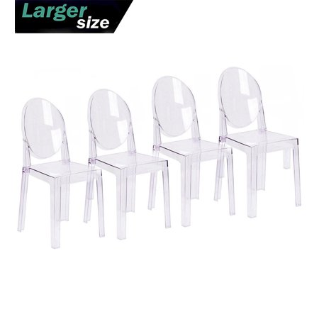 2xhome Set of 4 Large Size - Clear Crystal Mid Century Modern Contemporary Ghost Side Chair Dining Room Chair Victoria Accent Seat Living No Arms Wheels Armless With Back Transparent Guest Office Work Acrylic Clear Cradle Chair