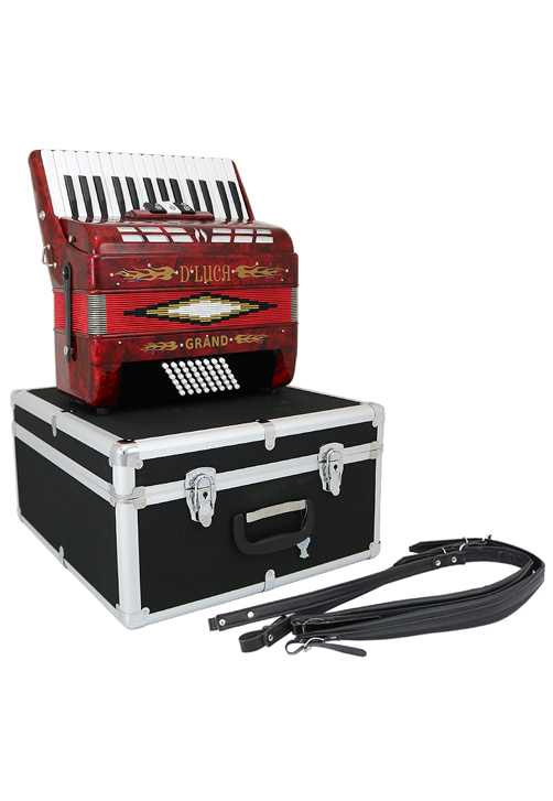 D'Luca Grand Piano Accordion 3 Switches 30 Keys 48 Bass with Case and Straps, Red by D'Luca