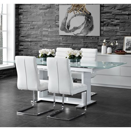Picket House Furnishings Soho 5PC Dining Set in White-Table & Four Side Chairs Soho Dining Table Set