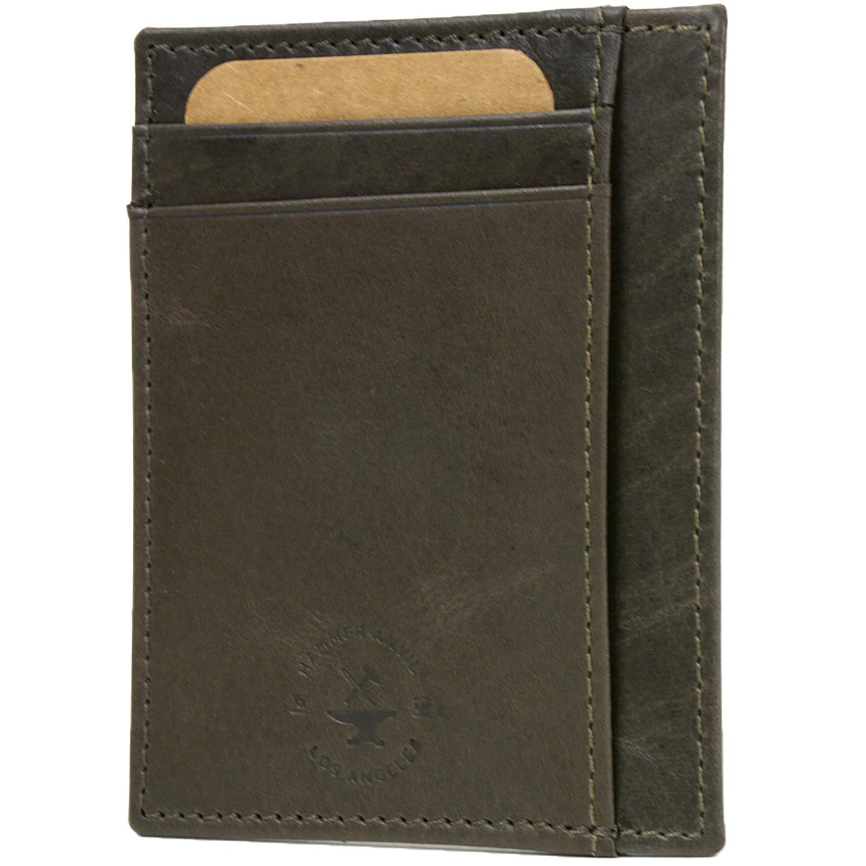 RFID Blocking Hammer Anvil Front Pocket Wallet Thin Slim Leather Multi Card Case