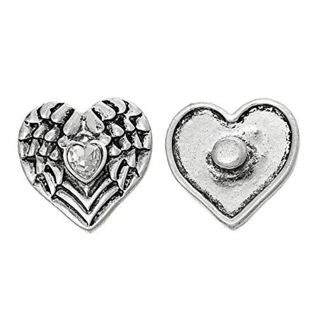 Chunk Snap Jewelry Button Angel Wing Heart Antique Silver Fit Chunk Bracelet Clear Rhinestone - Snap On Bracelets