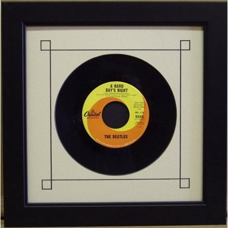 """45 Single 6 7/8"""" Inch Vinyl Record Frame Featuring White Mat Design (Black Trim) and Solid Wood Black Frame"""