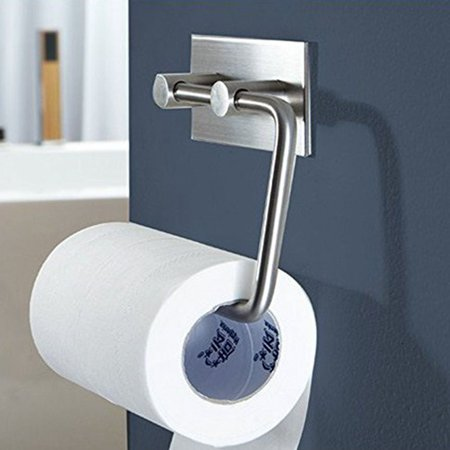 3M Stick Self Adhesive Toilet Paper Roll Holder Stick On Sticky Tissue Roll Hanger 1 PACK, Bathroom Towel Dispenser, SUS304 Stainless Steel Brushed