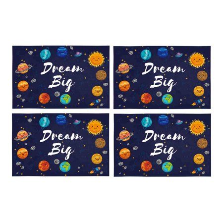 YUSDECOR Motivational Quotes Dream Big with Lovely Planets Moon Spaceship and Starts Placemats Table Mats for Dining Room Kitchen Table Decoration 12x18 inch,Set of 4 - image 1 of 4