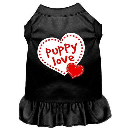 Puppy Love Screen Print Dress Black Sm (10)