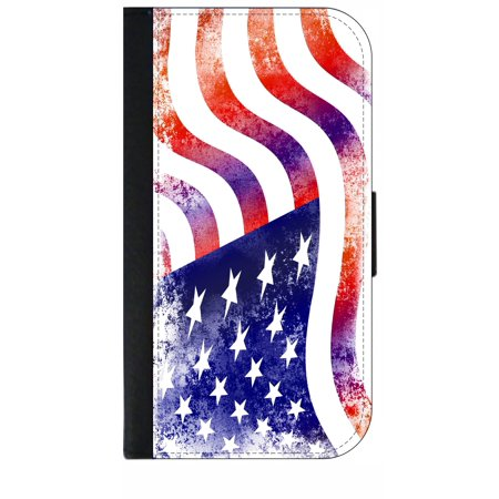 Wavey Grungy American Flag - Wallet Style Cell Phone Case with 2 Card Slots and a Flip Cover Compatible with the Standard Apple iPhone X - iPhone 10 (Flag Cell Phone Case)