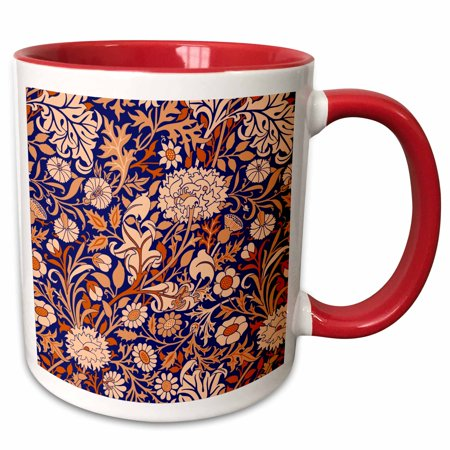 3dRose William Morris Cherwell Chintz Pattern in Blue and Orange - Two Tone Red Mug, 11-ounce